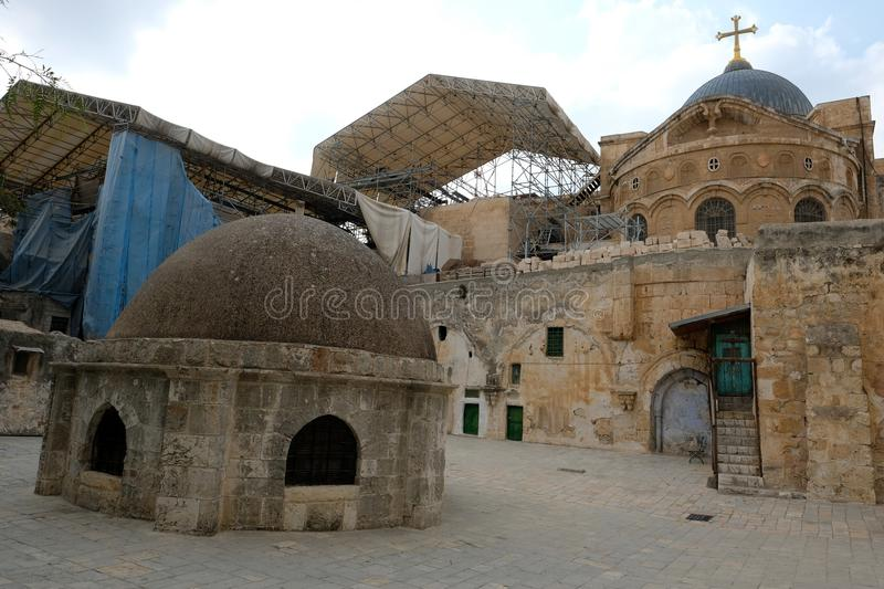 Roof on Holy Sepulcher church in Jerusalem. stock photography