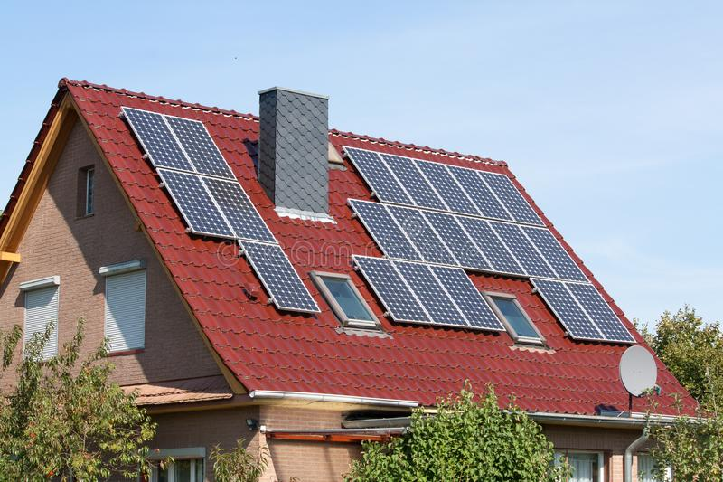 Solar systems on a roof royalty free stock photo