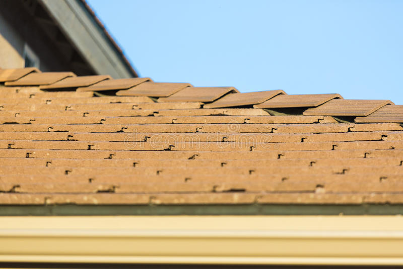 Roof of House with Concrete Tiles. stock photos