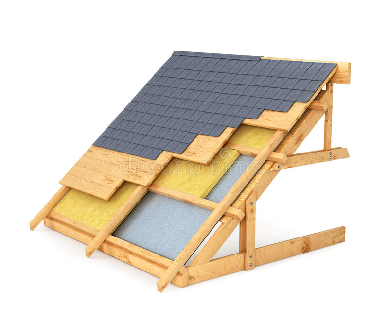 Roof of the house in a cut royalty free illustration