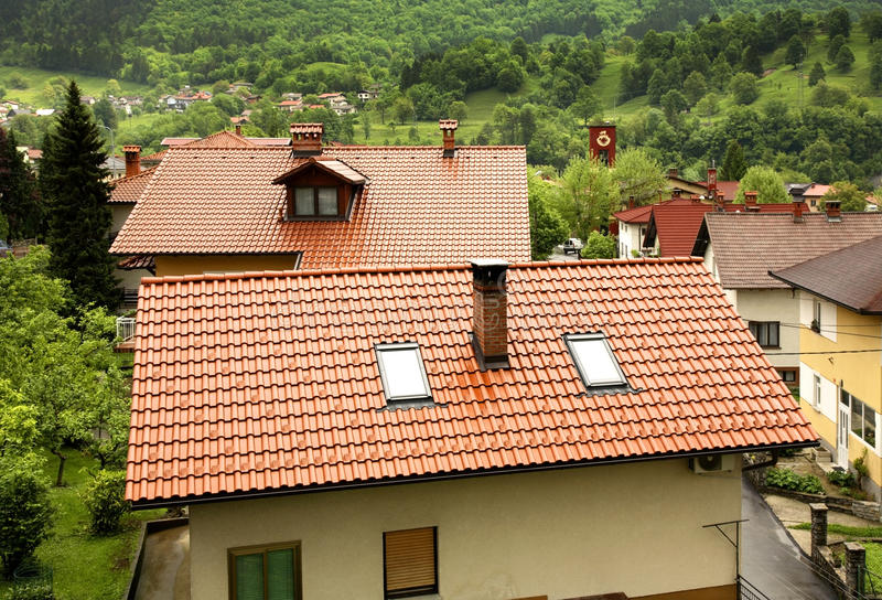Roof of the house in Kobarid. Slovenia.  stock photography
