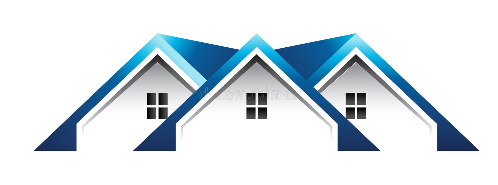 Roof houses logo. Group of three roof houses