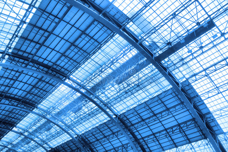 Roof of industrial building. Noned in blue color stock photography