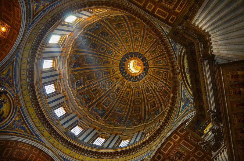 Roof Inside Of St Peters Church In Rome Stock Image