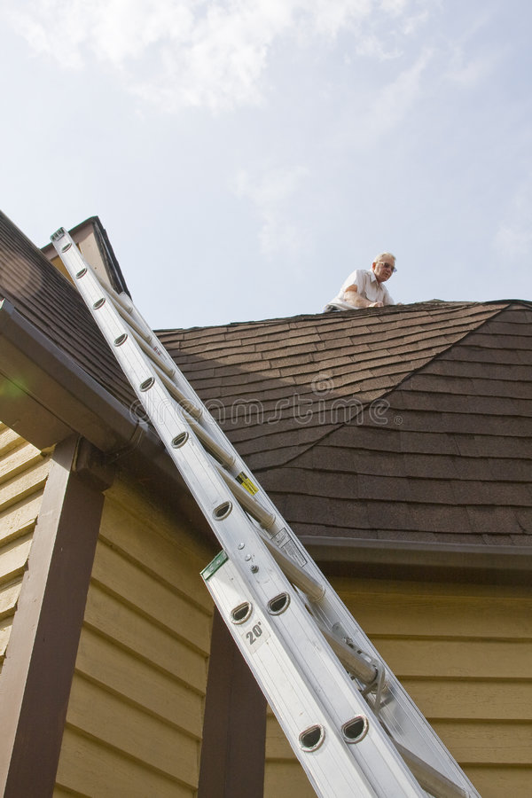 Roof inspector royalty free stock photo