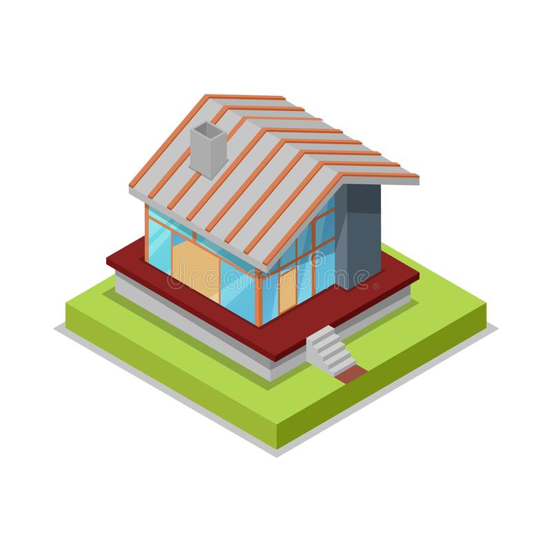 Roof installation isometric 3D icon. Construction stages of countryside house, low poly model of rural real estate building vector illustration royalty free illustration