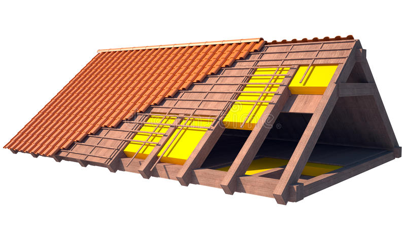 Roof insulation. House roof structure on more layers and isolated on white background. from left to right the layers hide. you can see the tiles the wood