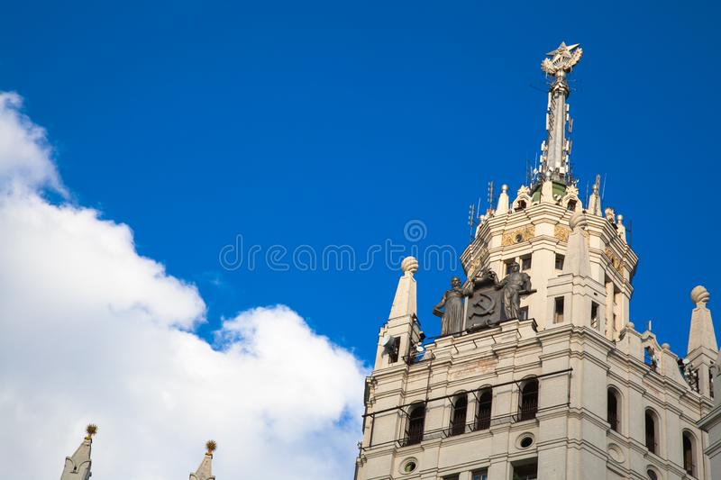 The roof of Kotelnicheskaya Embankment Building in Moscow in Russia close-up royalty free stock photography