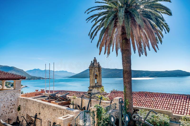 Roof of Leopold Mandic Church in the Old Town of Herceg Novi, Mo. Ntenegro stock photography