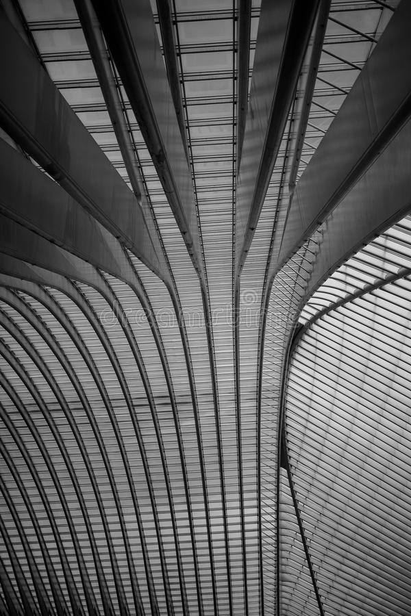 The roof of Liège-Guillemins railway station. Liège-Guillemins railway station is the main station of the city of Liège, the third largest city in royalty free stock image