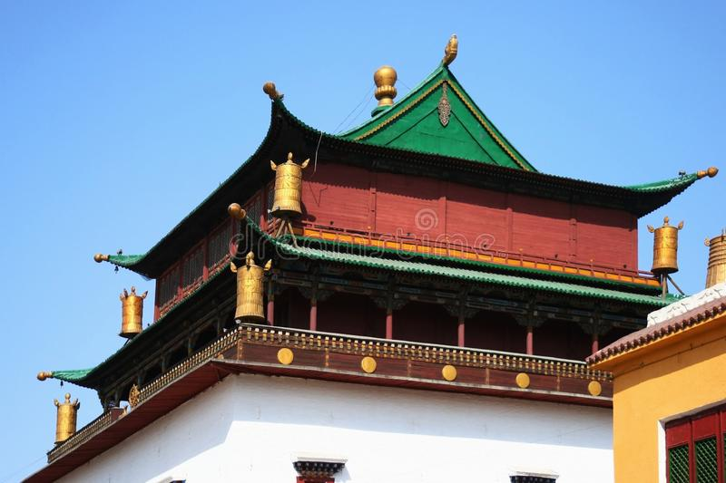 Roof of the main building in Gandantegchinlen Monastery  Gandan , Ulaanbaatar or Ulan-Bator, Mongolia stock photo