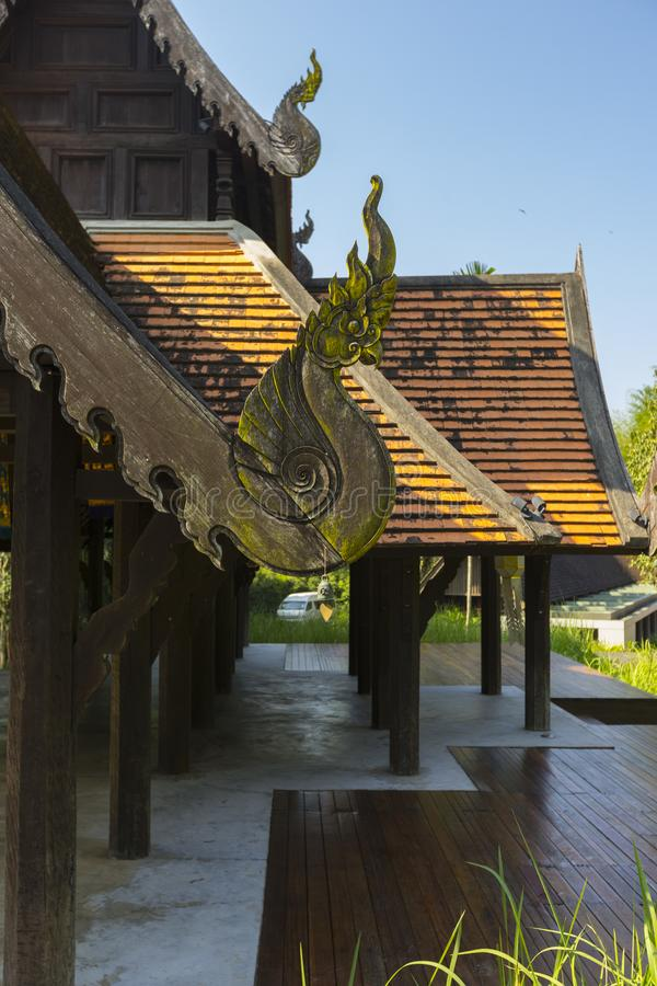 A Roof of Northern Thai Traditional House stock images