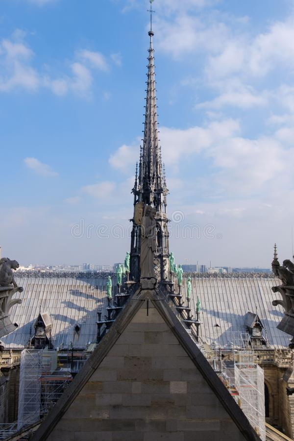 The roof of the Notre-Dame de Paris cathedral. The roof of the Notre Dame de Paris cathedral, Paris, France stock photos
