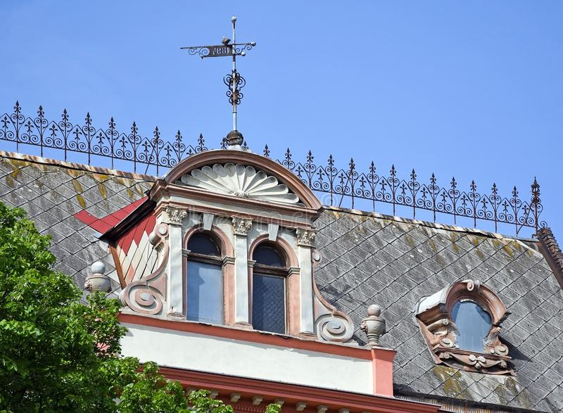 Roof of an old building, built in 1894, Debrecen, Hungary stock images