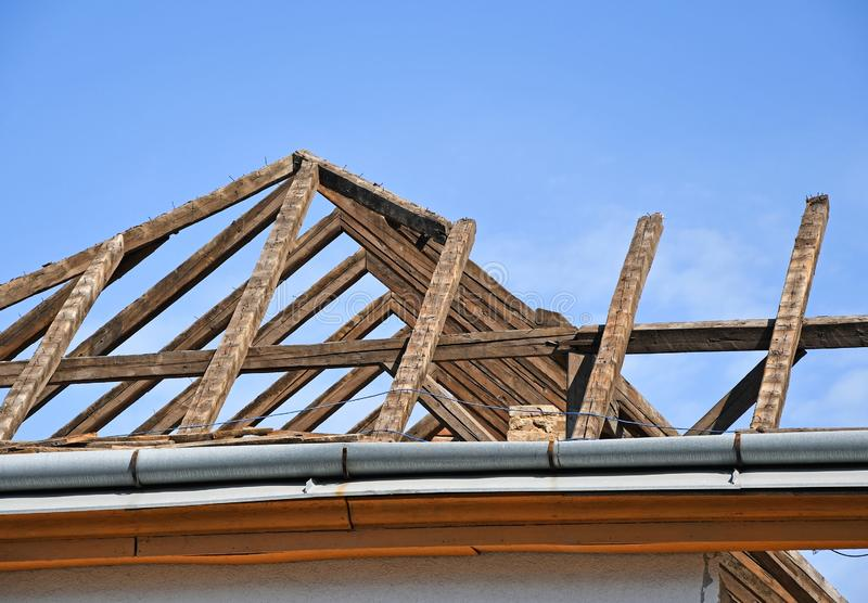 Roof of an old demolished building stock image