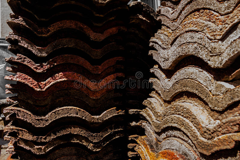 Roof of an old rural house, Old roof tiles royalty free stock photos