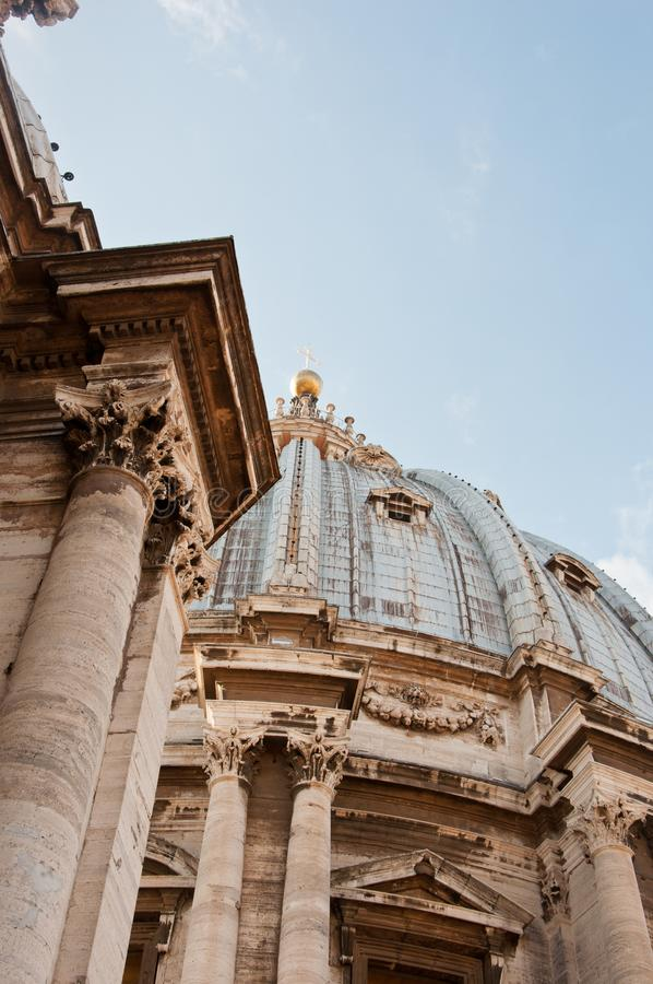 Roof panoramic view to dome of St Peter`s cathedral in Vaticano. Rome Italy in sunny day royalty free stock photography