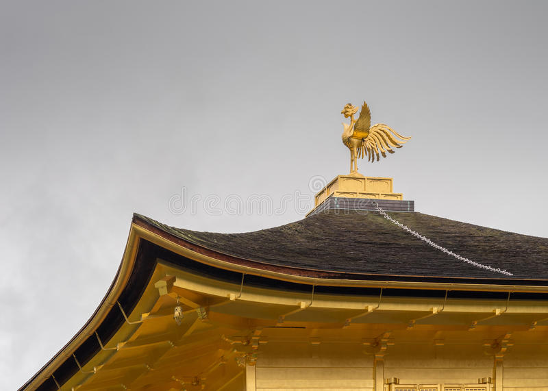 Roof and Phoenix at Golden Temple of Kinkaku-ji. royalty free stock image