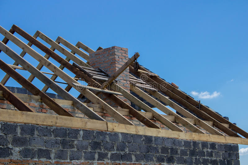 Roof rafters stock photos