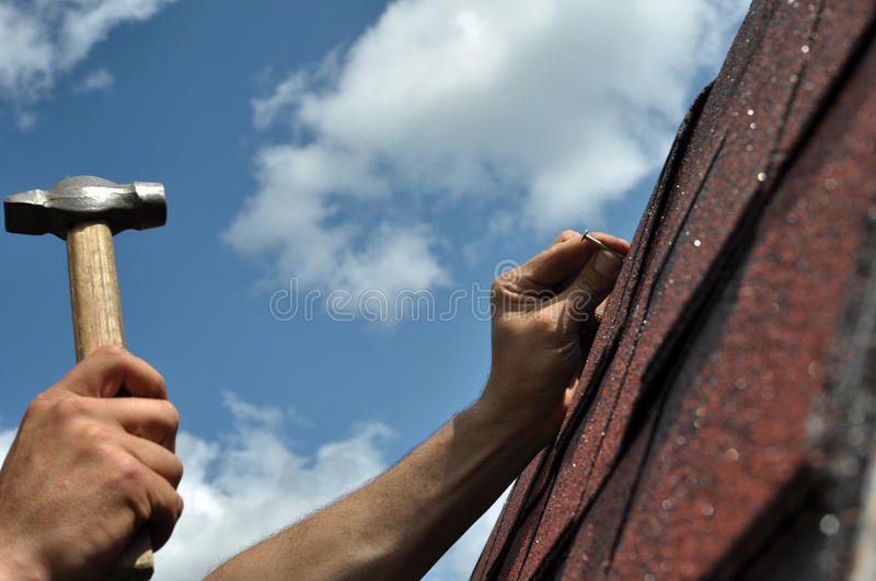 Roof repair royalty free stock photography