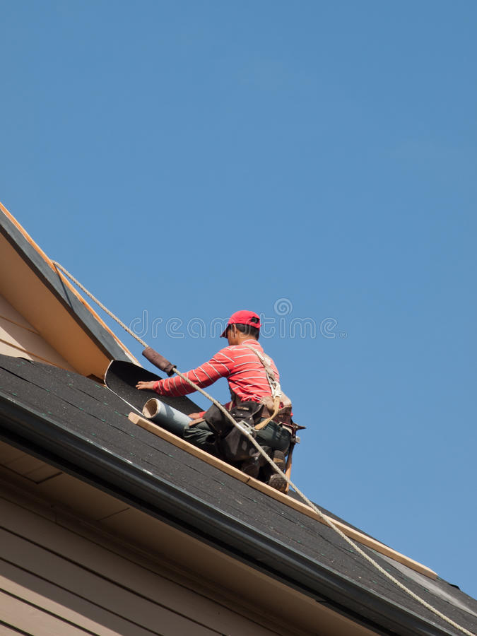 Roof Repairs. Of an apartment building in Colorado royalty free stock photography