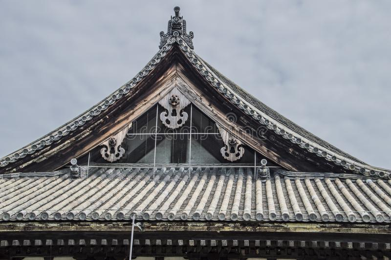 Roof Of The Sanjuusangendoo Temple At Kyoto. Japan 2015 royalty free stock photo