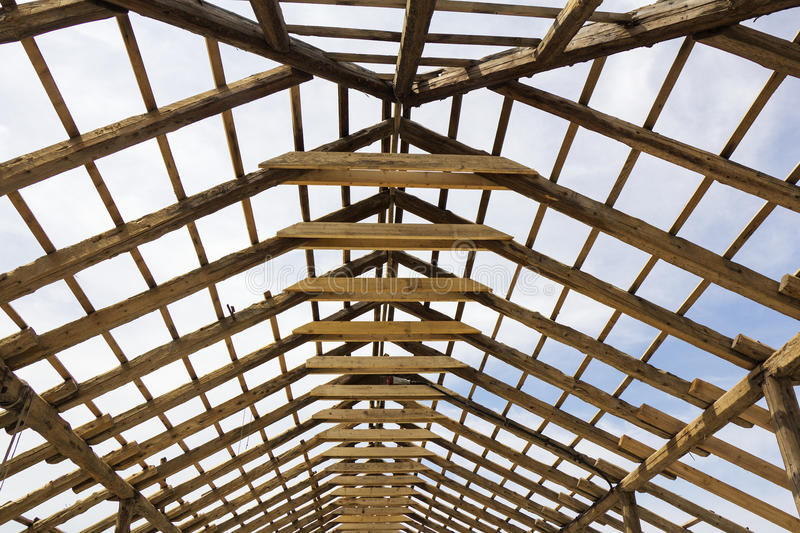 Roof skeleton. Wood house roof skeleton under construction stock photography