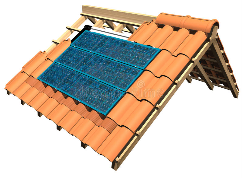 Roof with solar panels. 3d illustration roof with solar panels vector illustration