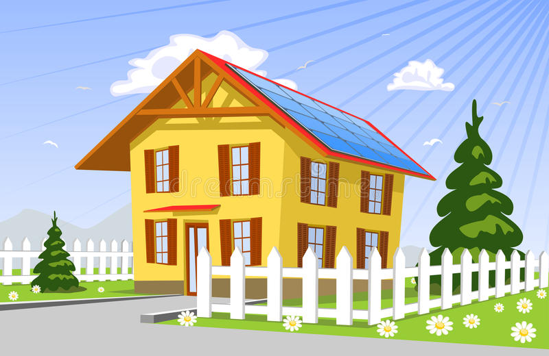 Roof solar panels vector illustration
