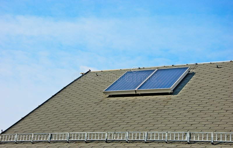 Roof solar and sky stock photo