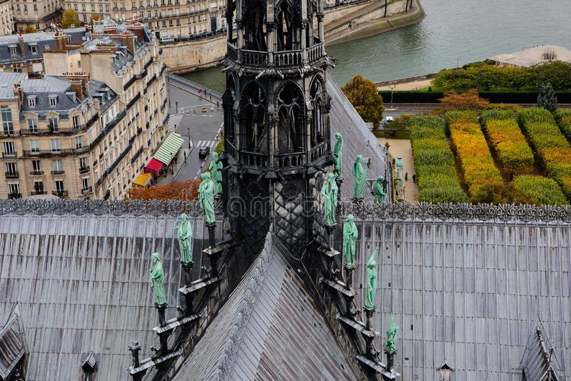 The spire of Notre Dame Cathedral royalty free stock image