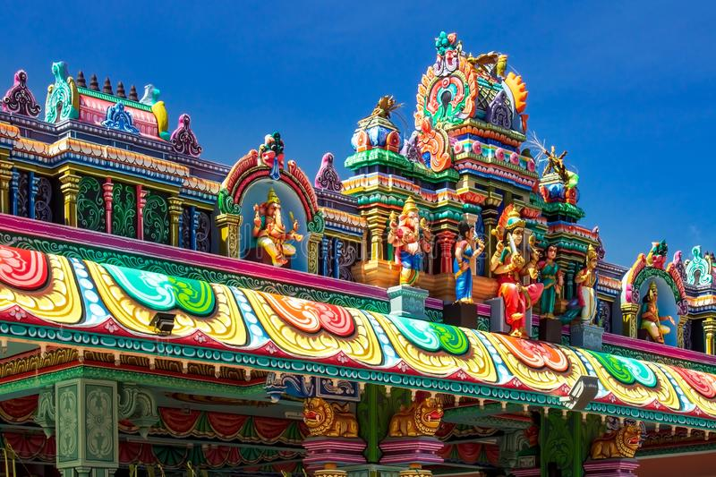 The roof of Sri Maha Mariamman Devasthanam, Hindu temple on the island of Langkawi, Andaman Sea, state of Kedah, Malaysia. Close-up on the statues on the roof of royalty free stock photo