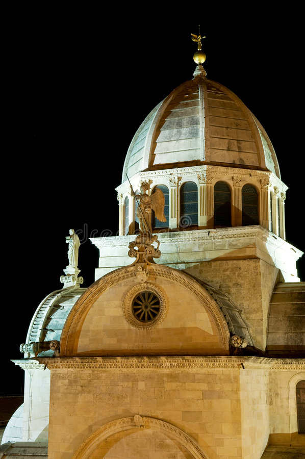 Roof of St. Jacob's Cathedral. Roof detail of St. Jacob's Cathedral in Sibenik, Croatia - part of UNESCO world heritage stock photo