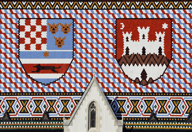 Roof of St. Marks Church, Zagreb stock images