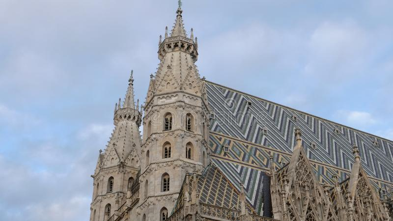 Roof of st stephen`s cathedral in vienna, austria royalty free stock photography