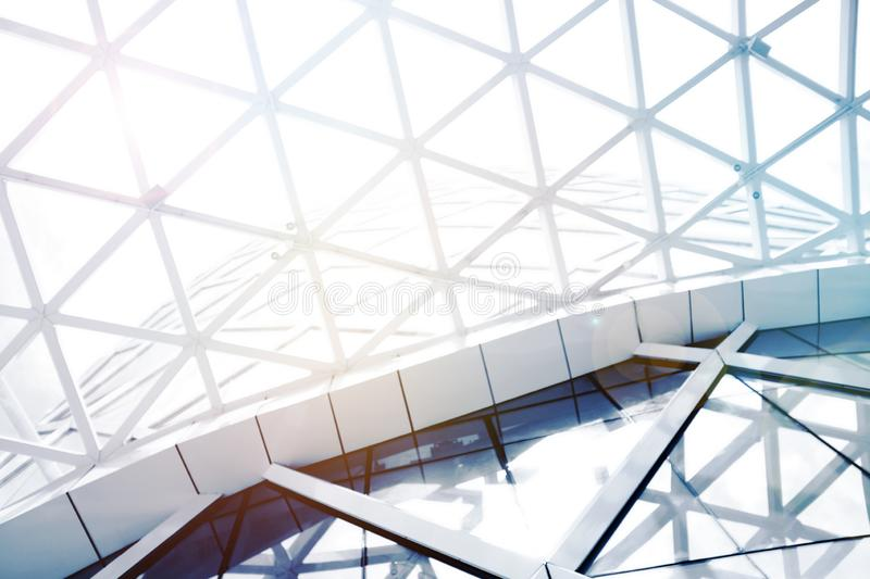 roof Steel structure geometry construction with sky. stock image