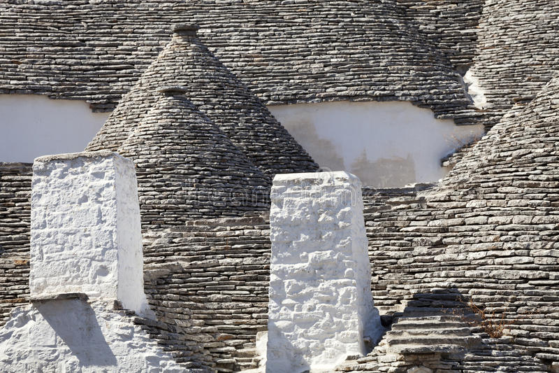Roof stones trulli of Alberobello. Puglia, southern Italy. stock photo