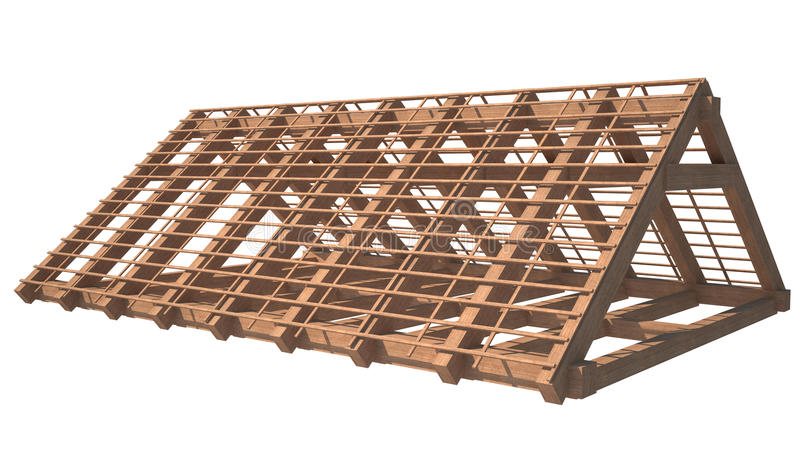 Roof structure. Wooden house roof structure isolated on white background. the image is in focus vector illustration