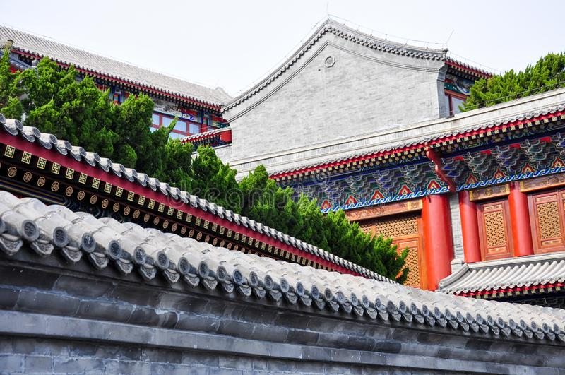 Roof structure of Chinese traditional architecture with gray tiles stock images