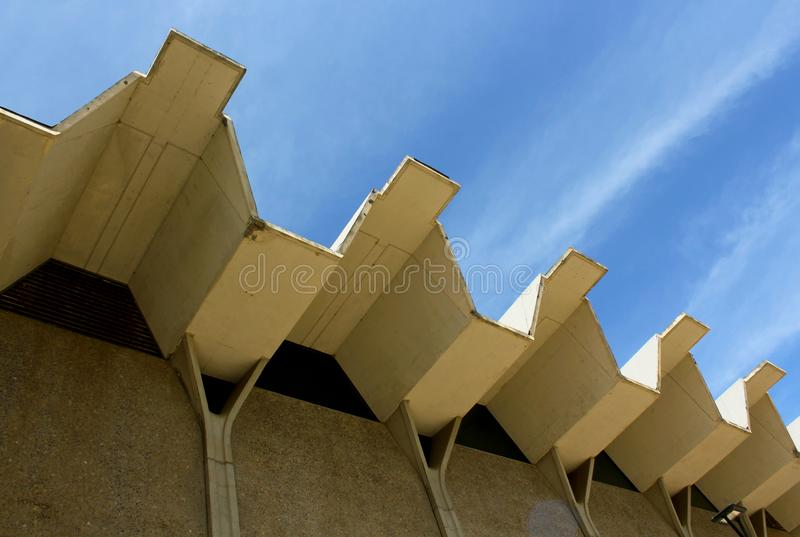 Roof structure of the  Main Gymnasium building, UCSD. The Roof structure of the Main Gymnasium building under the blue sky at UCSD, California stock photos