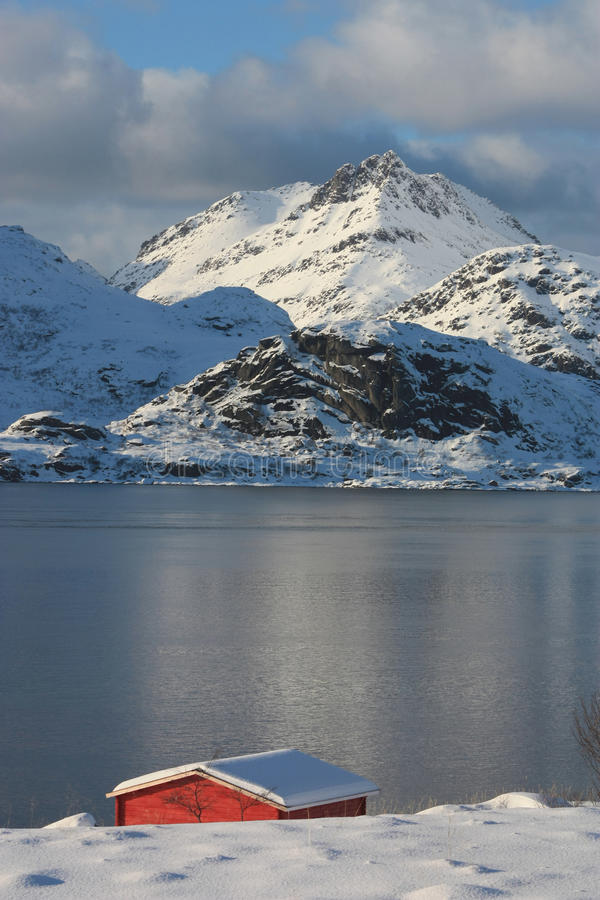 Roof of Sund in Lofoten. Roof of a small cottage on the seaside in Sund, small village of Lofoten islands, in wintertime royalty free stock images
