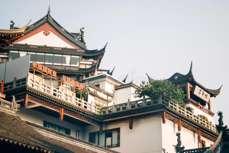 Roof of the Temple built in the ancient Chinese style royalty free stock image