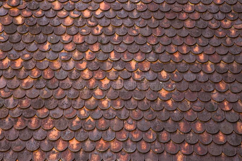 Roof tile pattern of ancient northern Thai style house royalty free stock photography