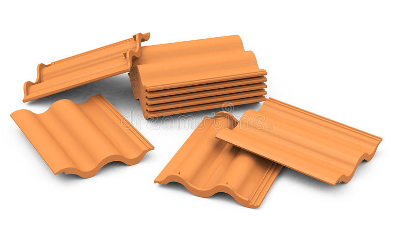 Roof tiles. 3d generated picture of some roof tiles stock illustration