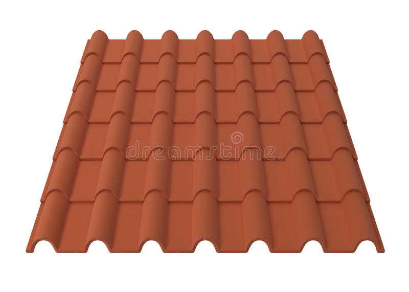 Roof tiles. 3d illustration isolated on white background royalty free illustration