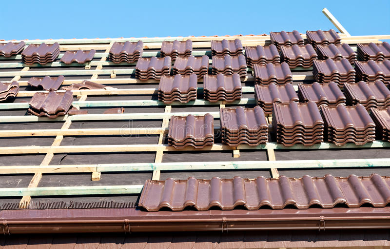 Download Roof tiles installation stock photo. Image of house, ready - 21301658