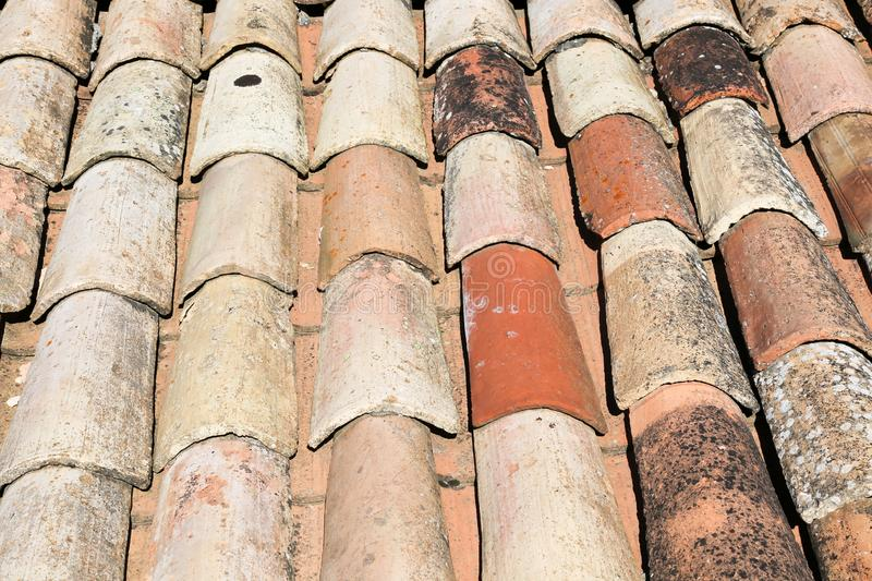 Roof tiles of an old roof royalty free stock image