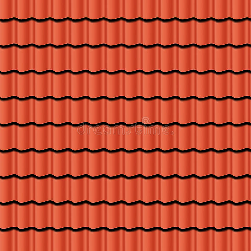 Roof tiles. Red corrugated tile element of roof. Seamless pattern. Vector illustration vector illustration