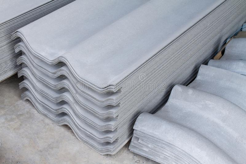 Roof tiles sheet Asbestos Concrete fiber cement stock images