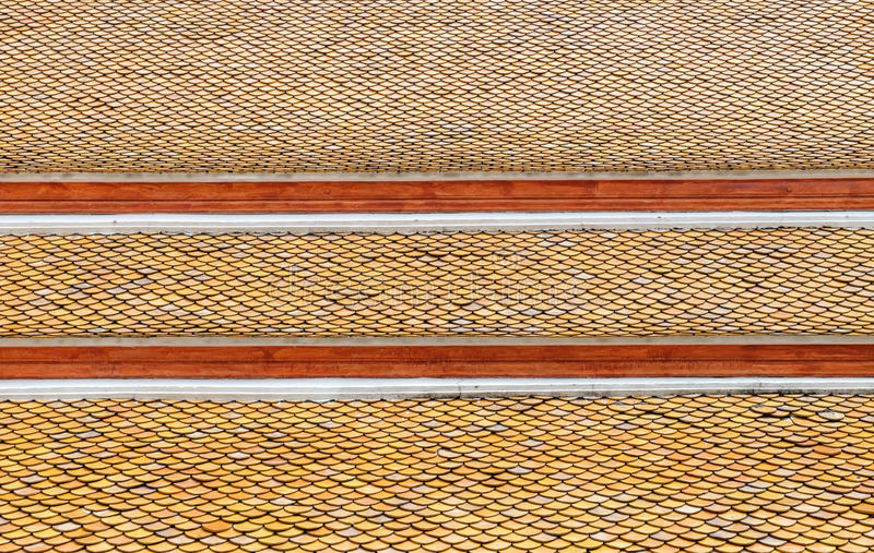 Roof tiles of Thai temple stock images